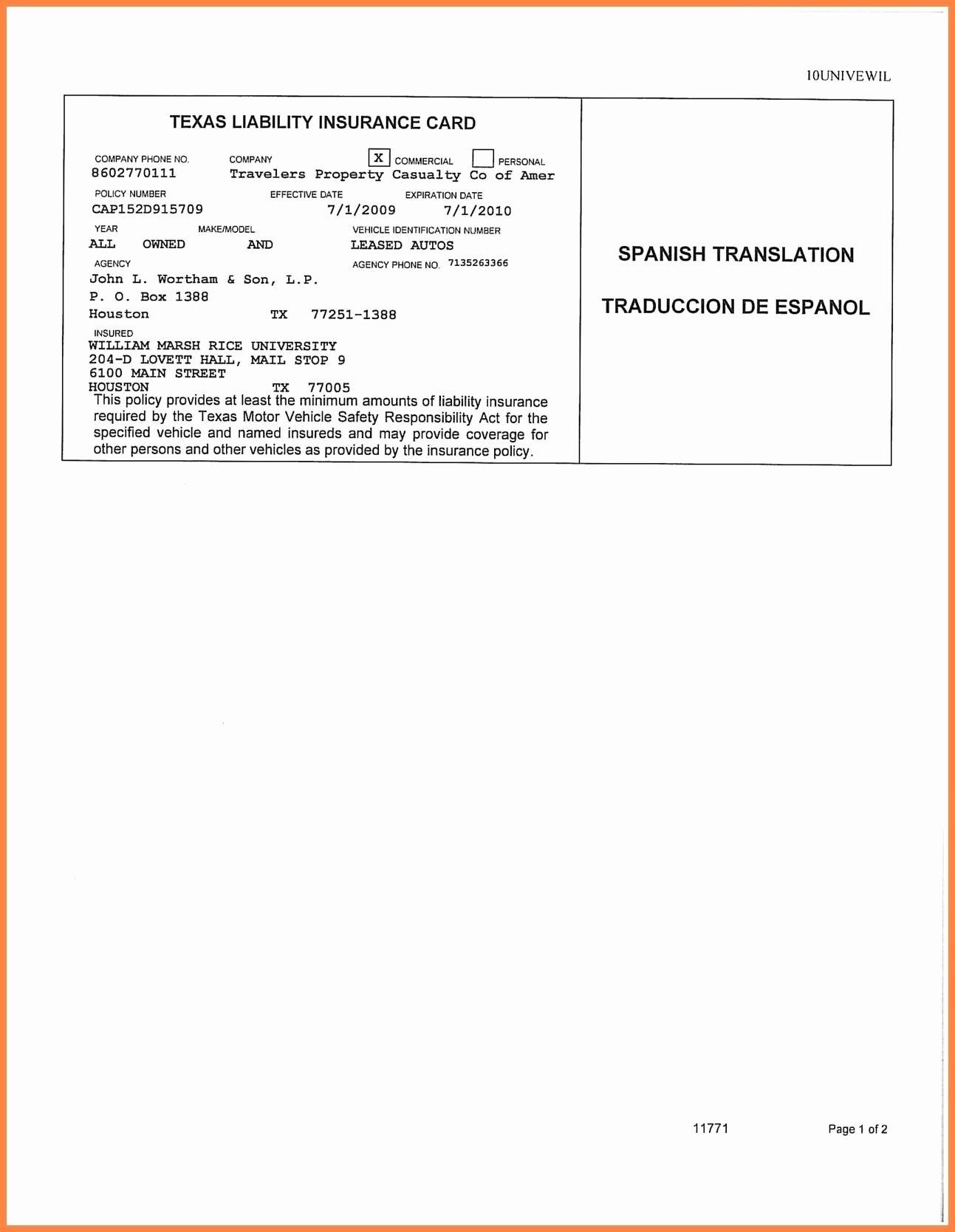 Auto Insurance Templates Lovely Car Insurance Card Template Free Auto Insurance Card