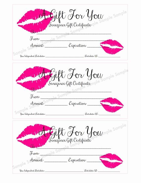 Avon Gift Certificate Template Luxury Senegence Lipsense Gift Certificate Gift Card by
