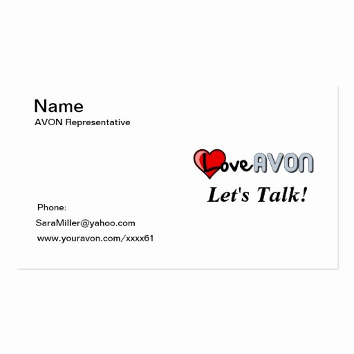 Avon Gift Certificate Template Unique Avon Bussiness Card Double Sided Standard Business Cards