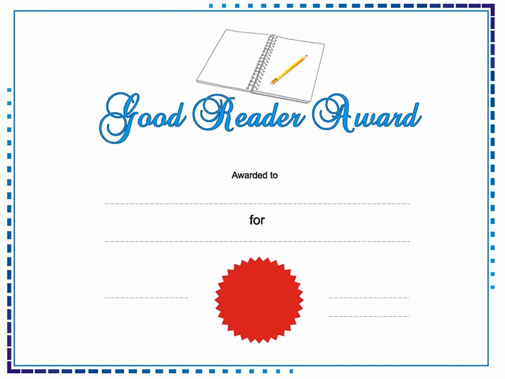Award Certificate Template Powerpoint Beautiful Good Reader Award Templates for Powerpoint Presentations