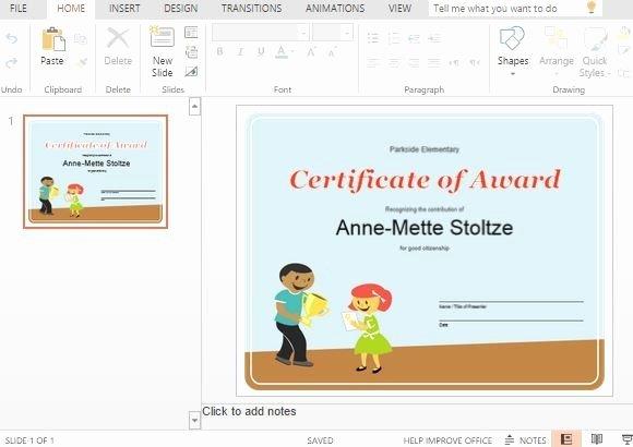 Award Certificate Template Powerpoint Inspirational Best Certificate Templates for Powerpoint