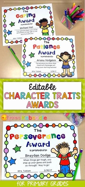 Award Ideas for Preschool Graduation Fresh End Of Year Awards Character Traits Awards for Lower