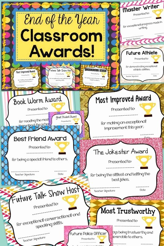 Award Ideas for Preschool Graduation New End Of the Year Classroom Awards