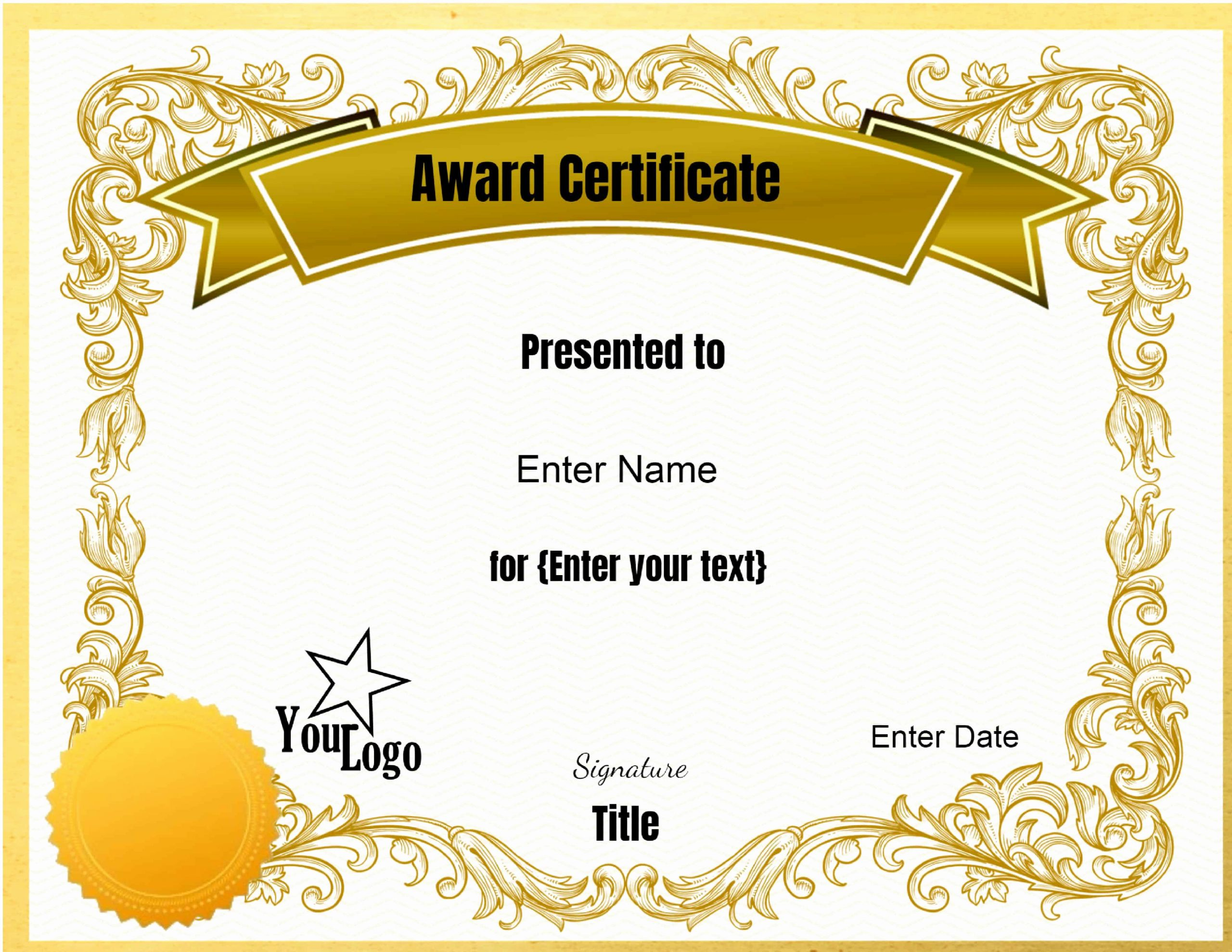 Award Ribbon Template Printable Inspirational Certificate Templates