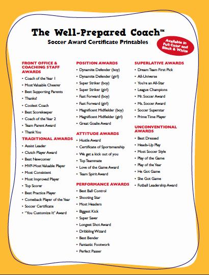 Award Titles for Sports Inspirational soccer Awards soccer Team Drills Pinterest