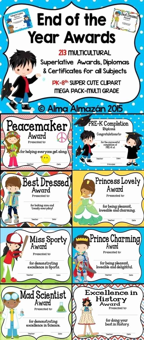 Award Titles for Students Beautiful End Of the Year Superlative Awards Certificates & Diplomas