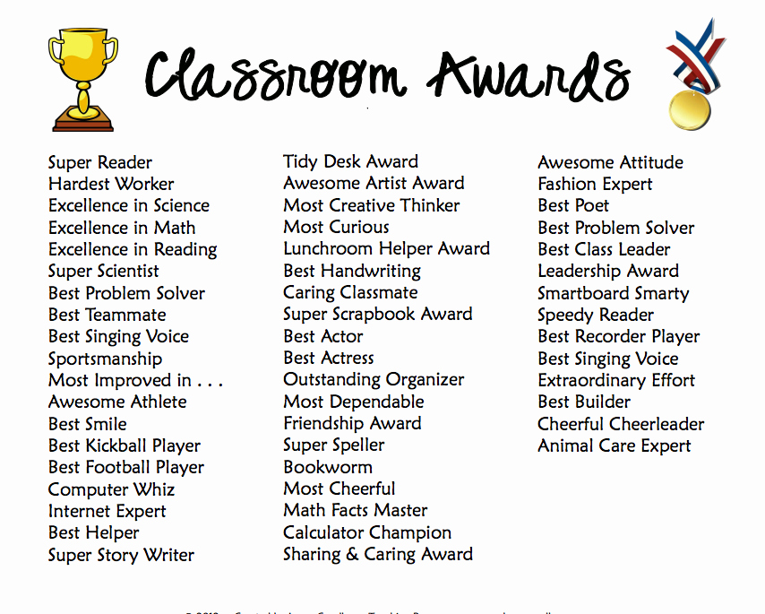 Award Titles for Students Unique Classroom Awards for even the Most Challenging Students