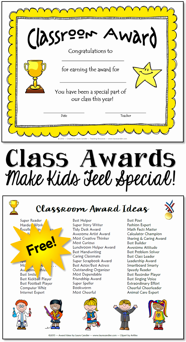 Award Titles for Students Unique Classroom Awards Make Kids Feel Special