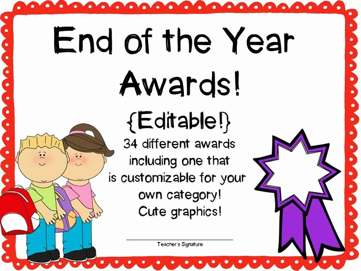 Award Titles for Students Unique End Of the Year Awards Editable