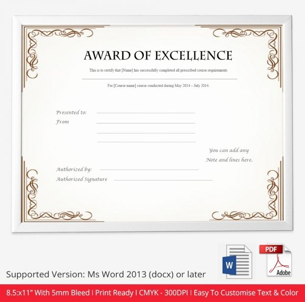 Awards Certificate Template Google Docs Lovely Certificate Template 50 Free Printable Word Excel Pdf