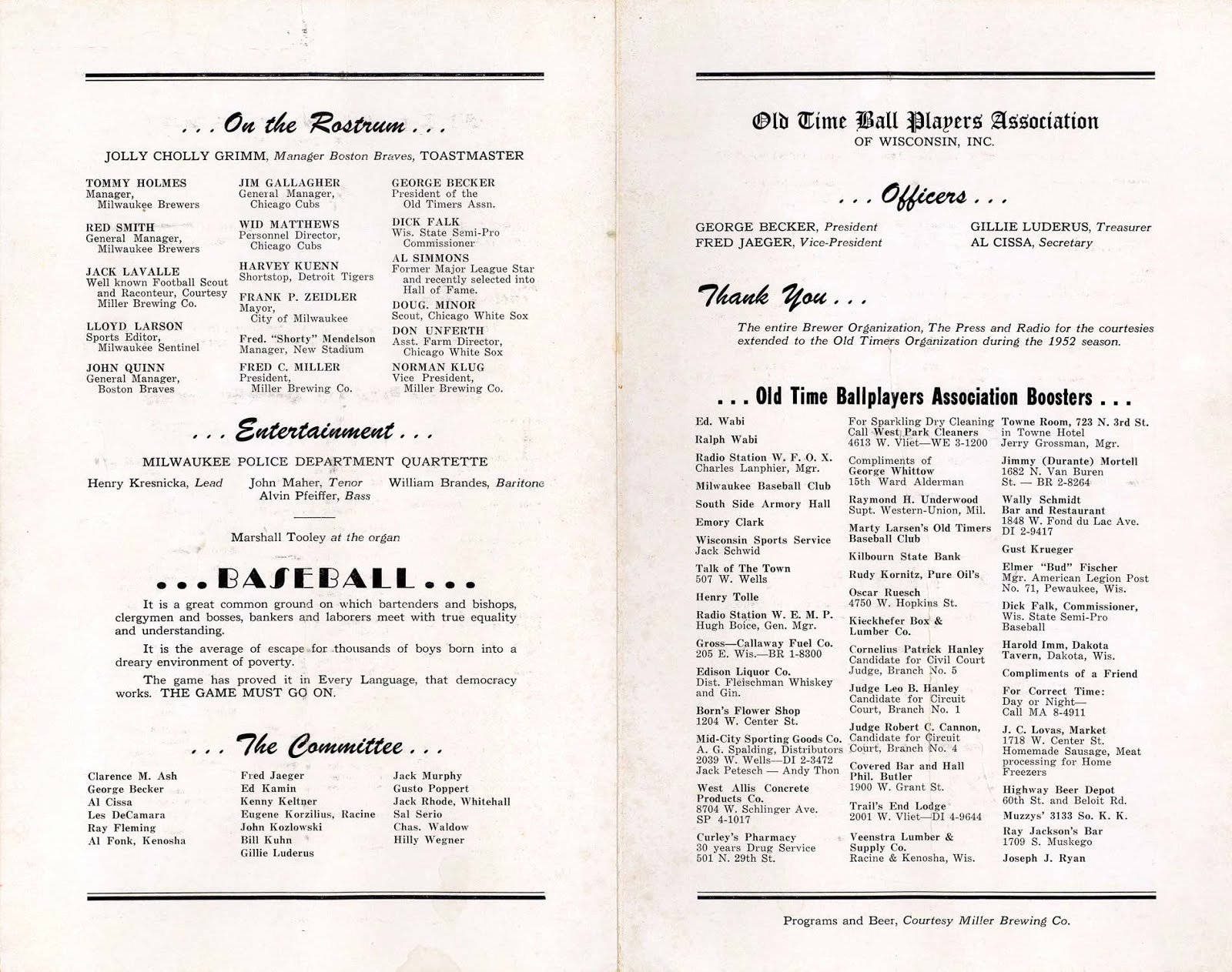 Awards Day Program Template Elegant Borchert Field 1953 Old Time Ballplayers Banquet Program