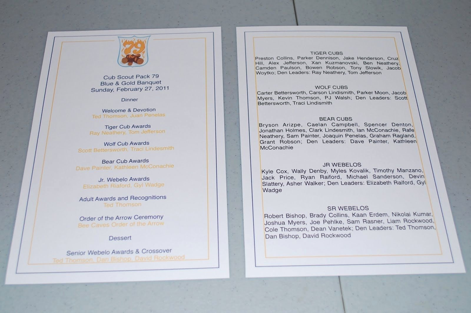 Awards Day Program Template New Blue and Gold Banquet Program Template