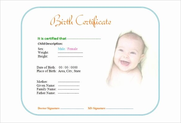 Baby Birth Certificate Template Luxury Birth Certificate Template 38 Word Pdf Psd Ai