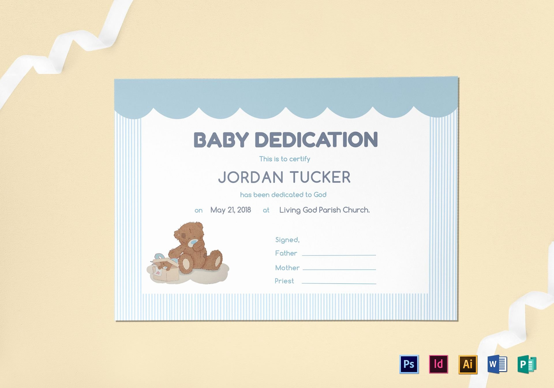 Baby Blessing Certificate Template Beautiful Baby Dedication Certificate Design Template In Psd Word