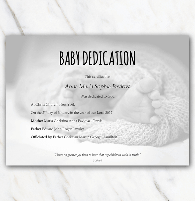 Baby Blessing Certificate Template Elegant Baby Dedication Certificate with Babyfeet In Blanket On