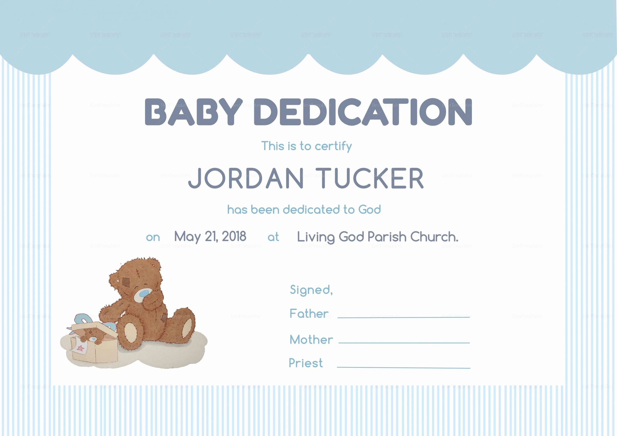 Baby Blessing Certificate Template Unique Child Dedication Certificate Clean Baby Dedication