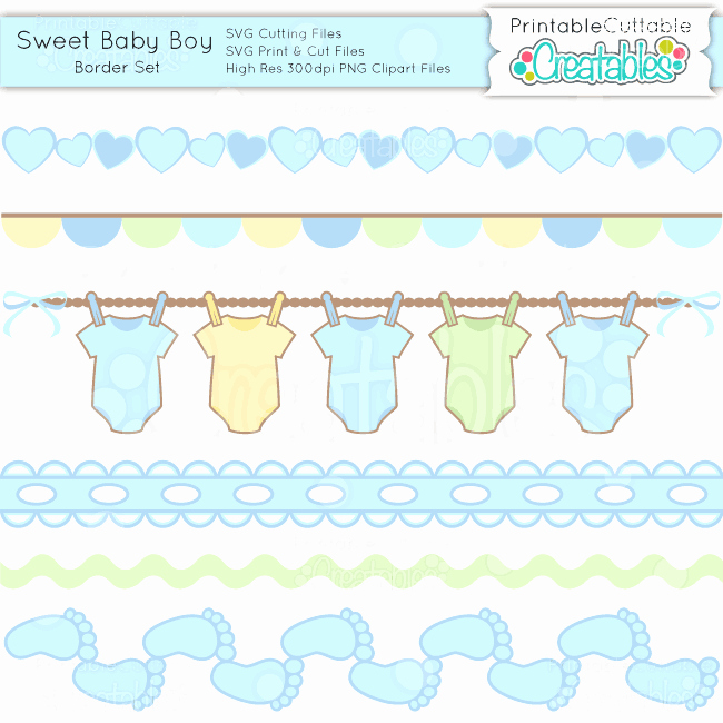 Baby Border for Word Document Awesome Sweet Baby Boy Borders Set Svg Cuts & Clipart