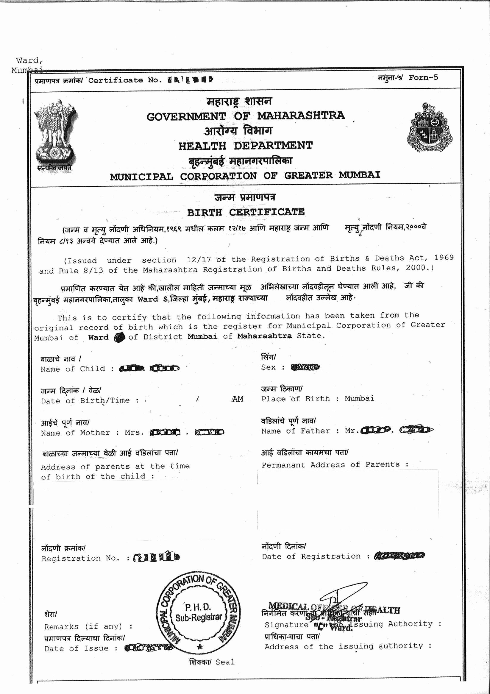 Baby Death Certificate Template Inspirational Line Birth Certificate Bmc Mumbai