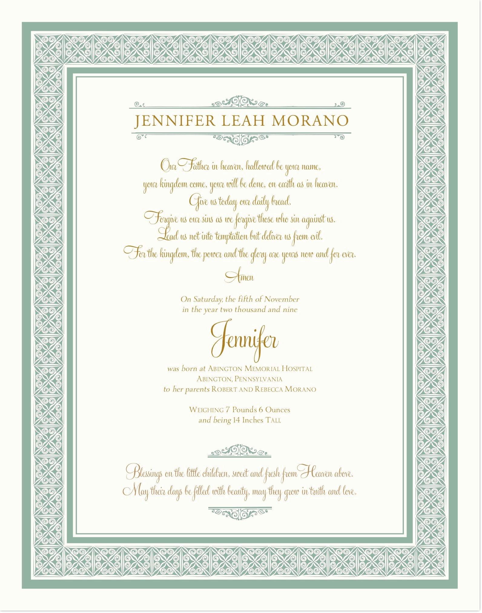 Baby Dedication Certificate Borders Elegant Birth Certificate Christening Certificate
