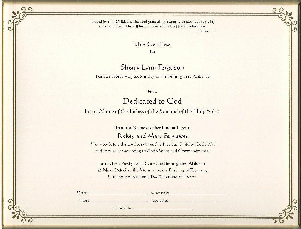 Baby Dedication Certificate Borders Fresh Keepsake Dedication 8 5 X 11 Inch Certificate Gold