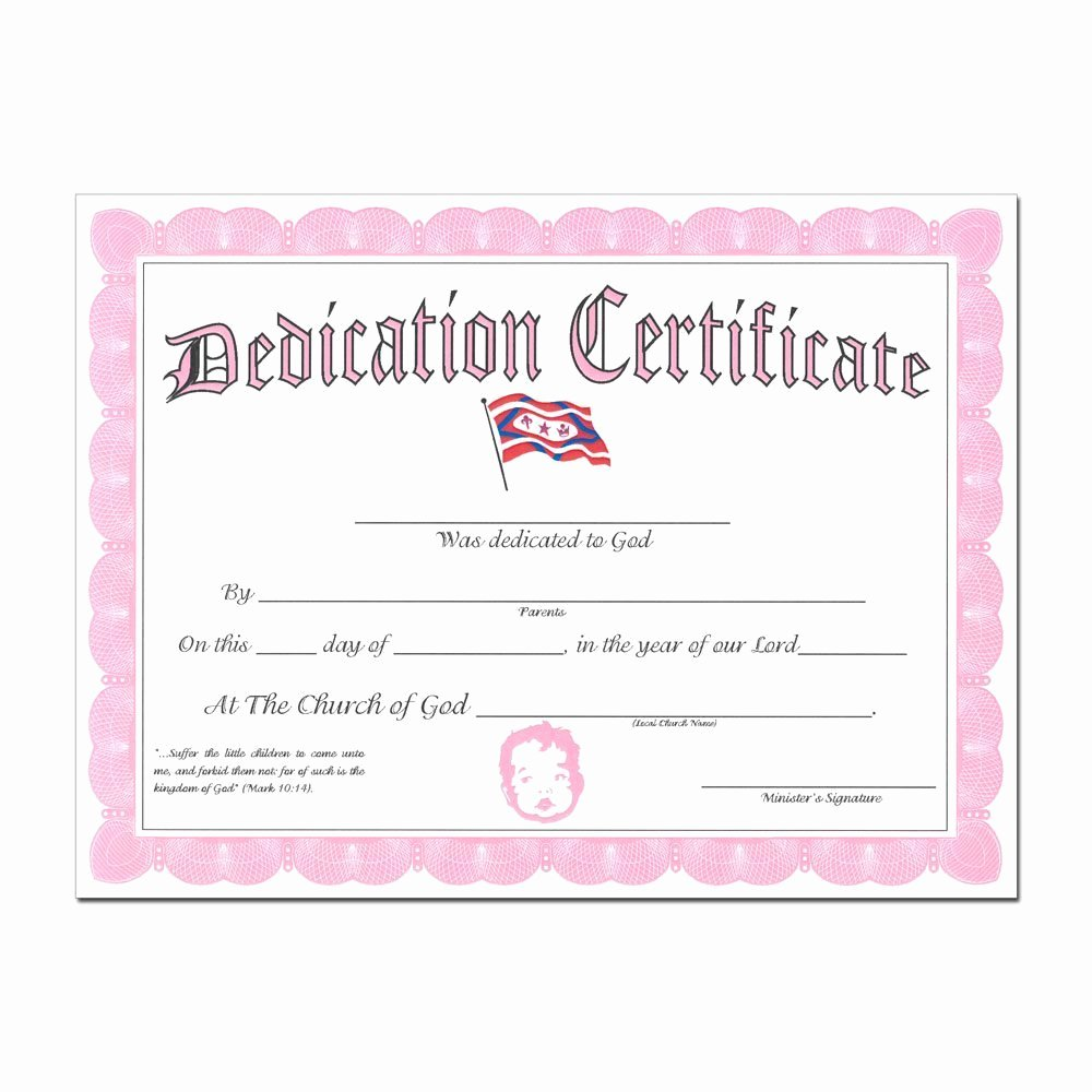 Baby Dedication Certificate Borders New Baby Dedication Certificate