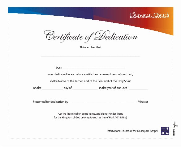 Baby Dedication Certificate Borders New Baby Dedication Certificate