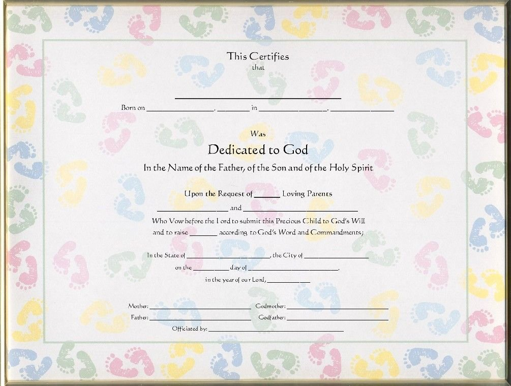 Baby Dedication Certificate Template Awesome Baby Dedication Certificate Template Free Cubey