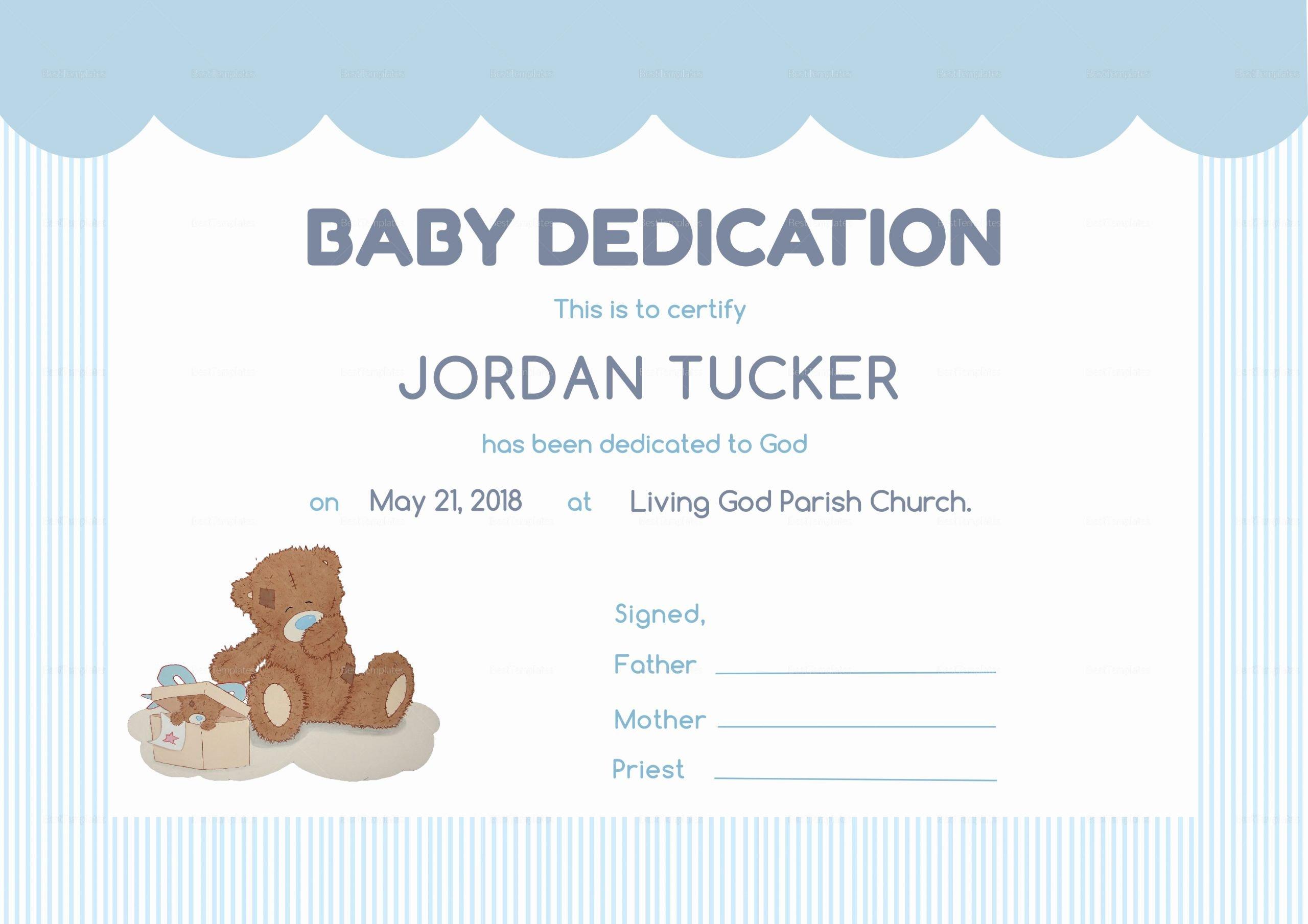 Baby Dedication Certificate Template Elegant Baby Dedication Certificate Design Template In Psd Word