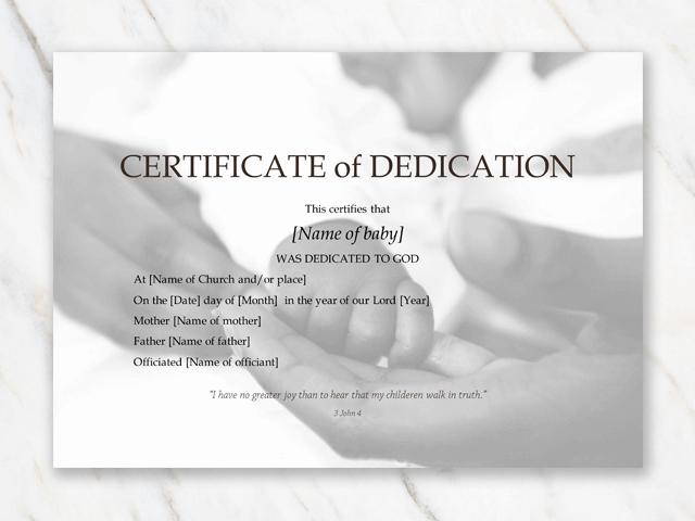 Baby Dedication Certificate Template Fresh Baby Dedication Certificate Template for Word [free Printable]