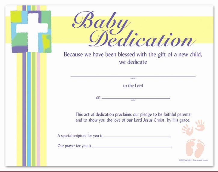 Baby Dedication Certificate Template Printable Awesome Baby Dedication Certificate Worship Supplies