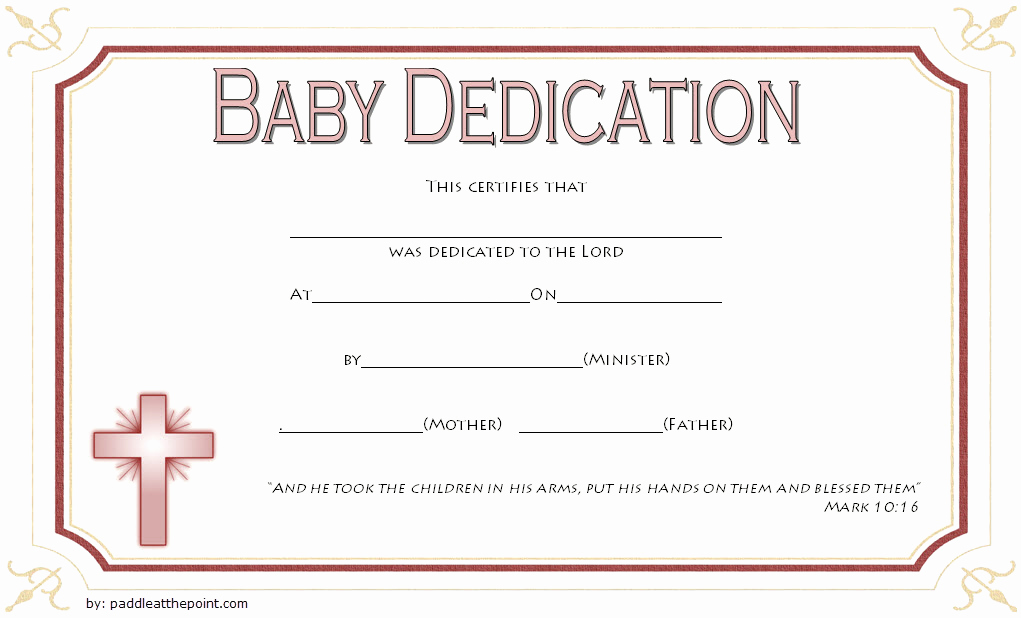 Baby Dedication Certificate Template Printable Beautiful Free Fillable Baby Dedication Certificate Download 7