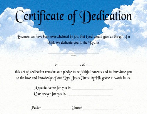 Baby Dedication Certificate Template Printable Unique Certificate Of Dedication Certificates Church