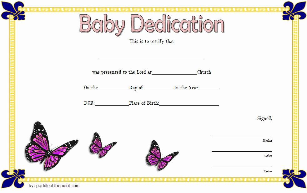 Baby Dedication Certificate Template Unique 7 Free Printable Baby Dedication Certificate Templates Free