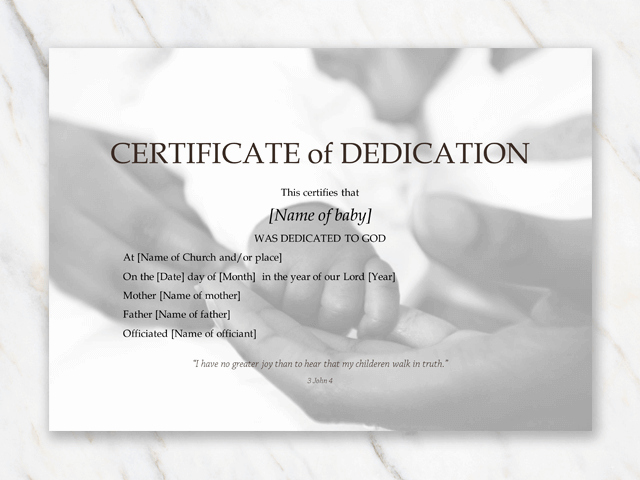 Baby Dedication Certificate Template Word Luxury Baby Dedication Certificate Template for Word [free Printable]