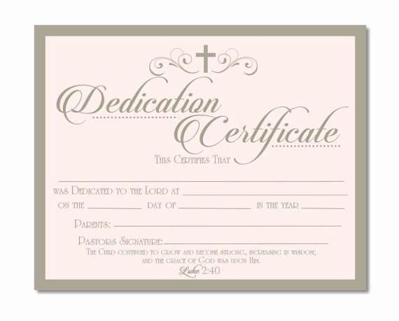 Baby Dedication Certificate Wording Luxury Printable Baby Dedication Certificate Digital by