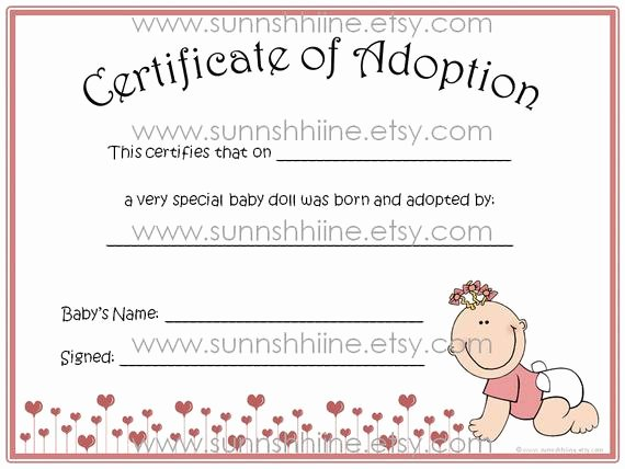 Baby Doll Birth Certificate Template Best Of Certificate Of Adoption Girl Baby Doll toy Adopt by