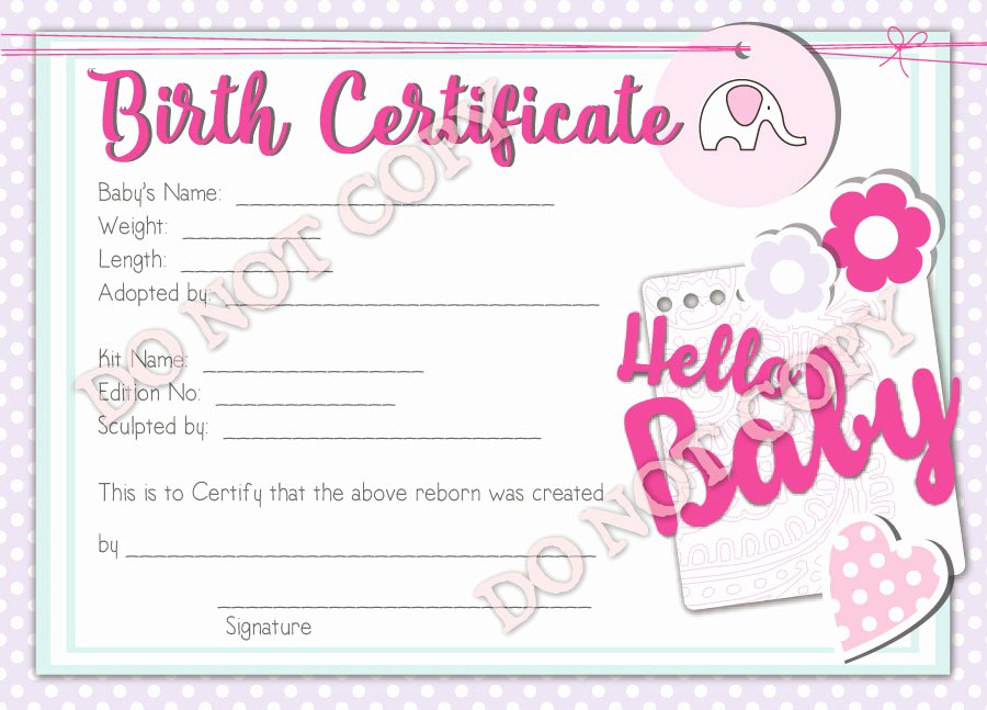 Baby Doll Birth Certificate Template New Reborn Doll Birth Certificate Girl Hello Baby