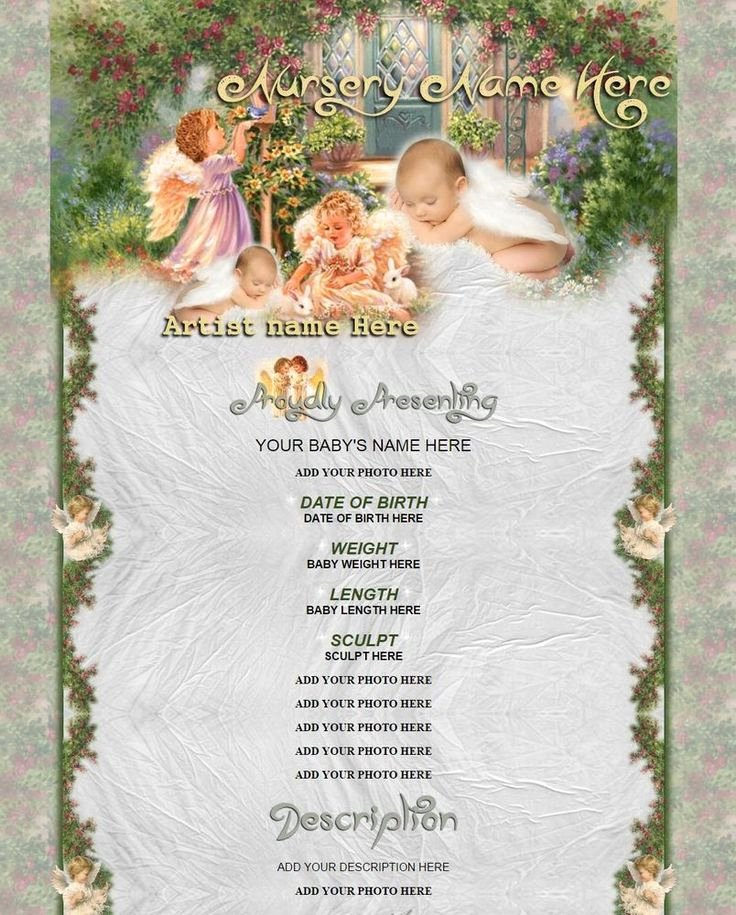 Baby Doll Birth Certificate Template Unique Baby Angels Ebay Listing Reborn Baby Template with