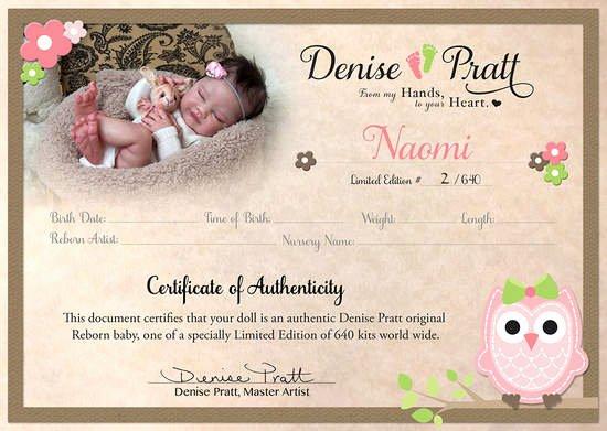 Baby Doll Birth Certificate Template Unique Naomi Kit by Denise Pratt Coa 2 640 by Denise Pratt