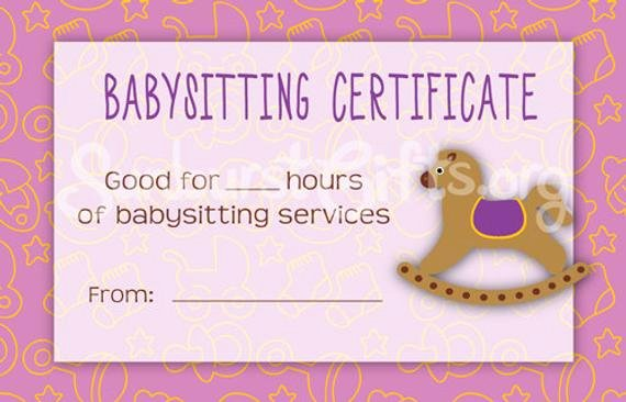 Babysitting Certificate Template Free Beautiful Items Similar to Printable Babysitting Gift Certificate