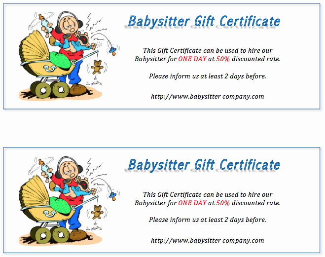 Babysitting Certificate Template Free Inspirational Free Gift Certificate Templates 8 Templates