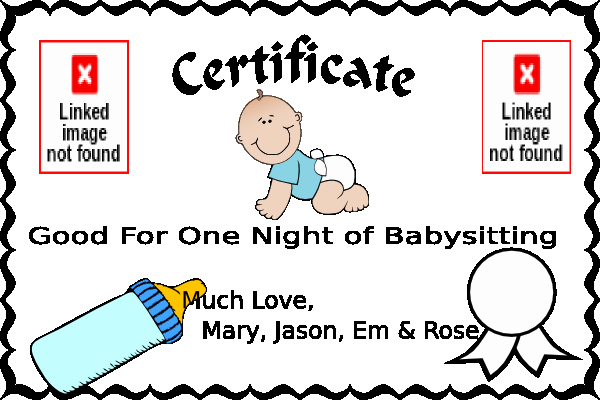 Babysitting Certificate Template Free Luxury Babysitting Coupon Clip Art at Clker Vector Clip Art
