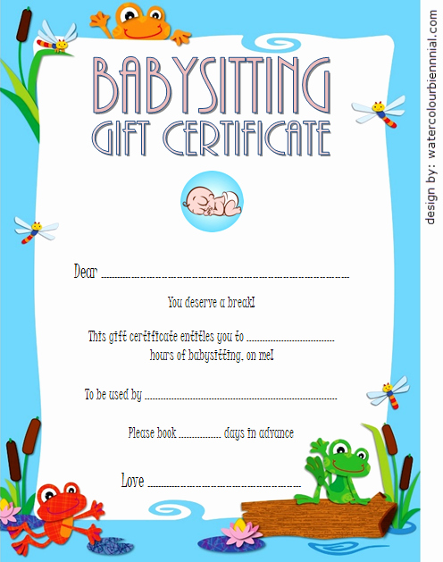 babysitting t certificate template