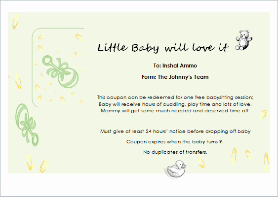 Babysitting Gift Certificate Template Awesome Babysitter Gift Certificate Template for Word