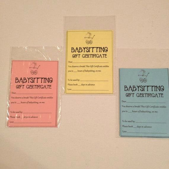 Babysitting Gift Certificate Template Beautiful Babysitting Gift Certificate Diy Printable Pdf by Weebittrendy