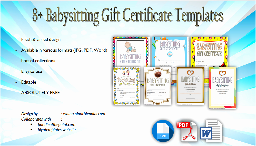 Babysitting Gift Certificate Template Beautiful Babysitting Gift Certificate Template Free [7 New Choices]