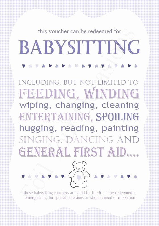 Babysitting Gift Certificate Template Inspirational Baby Sitting Vouchers Great for A Prizes for Baby Shower
