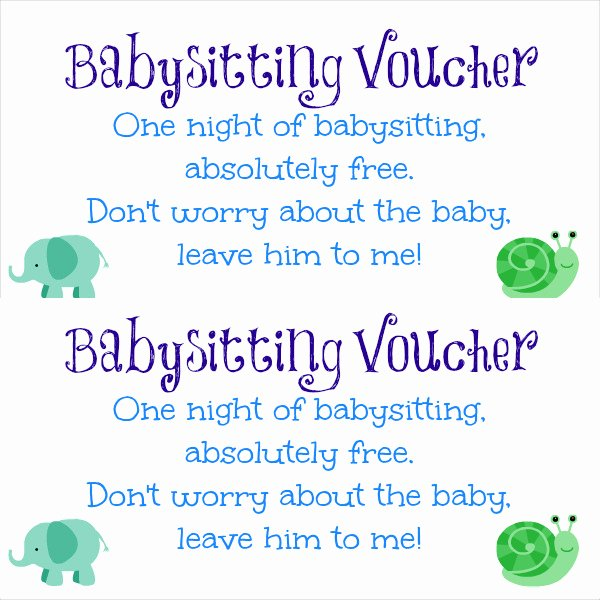 Babysitting Gift Certificate Template Inspirational Babysitting Gift Certificate – Emmamcintyrephotography