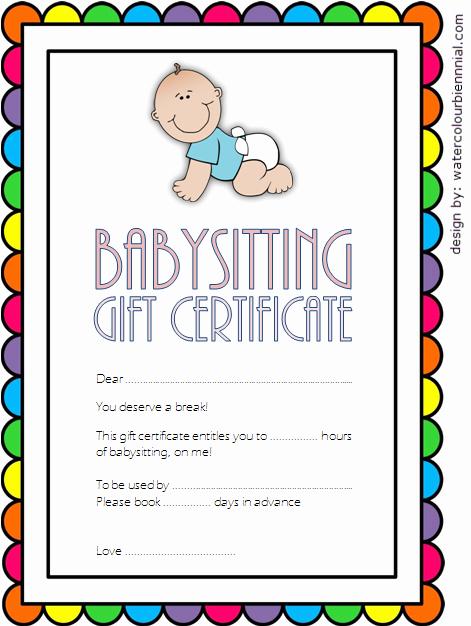 Babysitting Gift Certificate Template Lovely Babysitting Gift Certificate Template Free [7 New Choices]