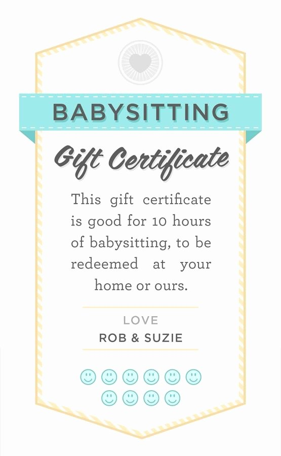 Babysitting Gift Certificate Template Luxury Babysitter Date Night Printable